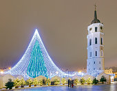 Christmas tree on Cathedral Square in Vilnius at night.