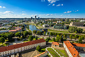 Aerial view from the Gediminas Tower on Vilnius city center, Lithuania