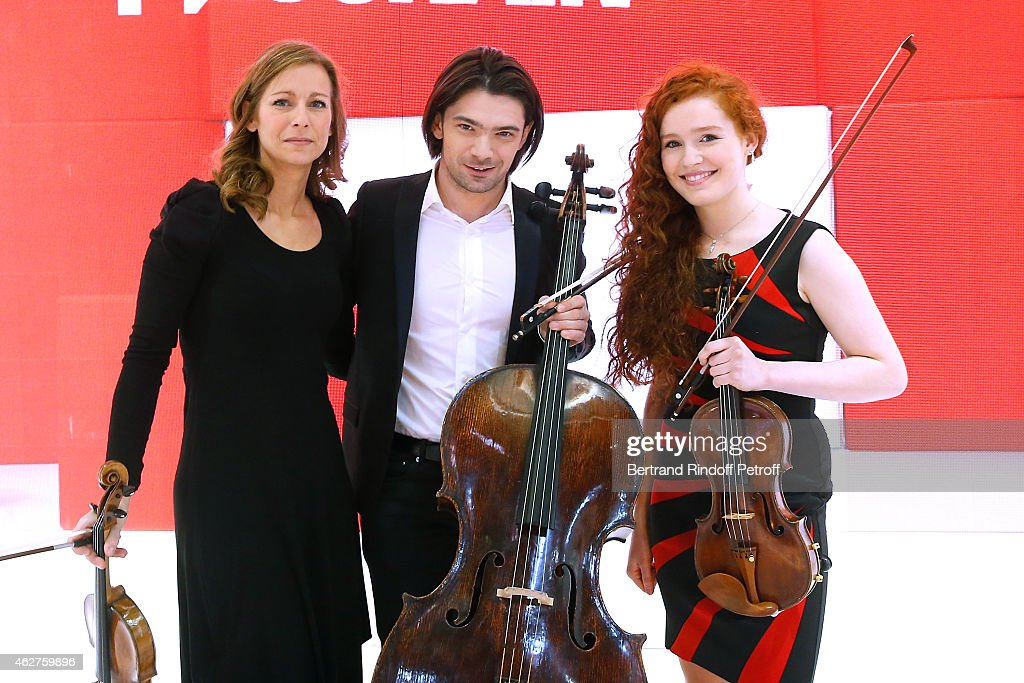 Vilonist Anne Gravoin, Cellist Gautier Capucon and winner of the TV Show 'Prodiges' Violonist Camille Berthollet (15 years old) attend the 'Vivement Dimanche' French TV Show at Pavillon Gabriel on February 4, 2015 in Paris, France.