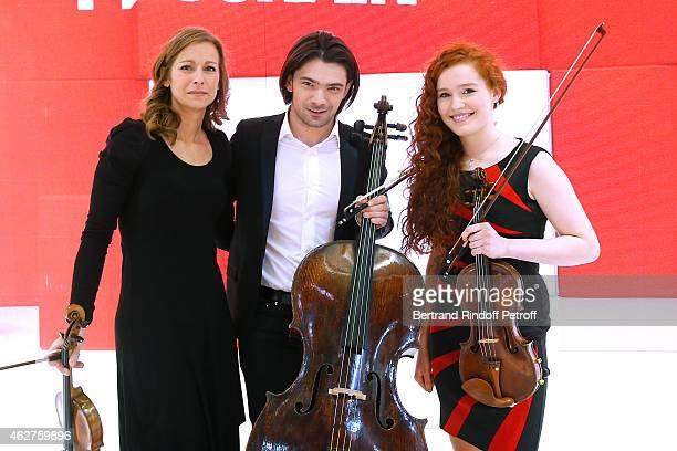 Vilonist Anne Gravoin Cellist Gautier Capucon and winner of the TV Show 'Prodiges' Violonist Camille Berthollet attend the 'Vivement Dimanche' French...