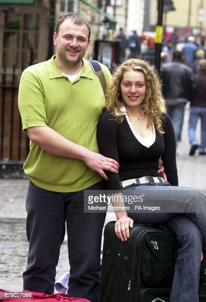 Viltz Linkevickite from Lithuania and her boyfriend Paul Freimanas 27 arrive at Victoria Coach Station on the day that the country joined the...
