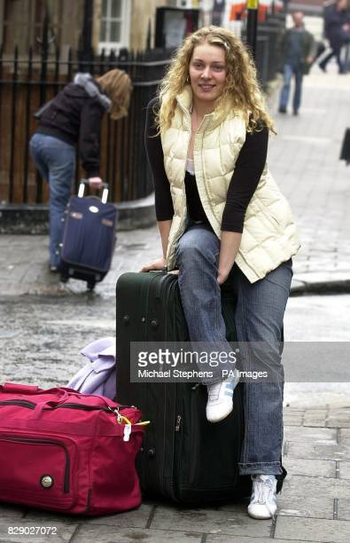 Viltz Linkevickite from Lithuania arrives at Victoria Coach Station on the day that the country joined the European Union Migrant workers from the...