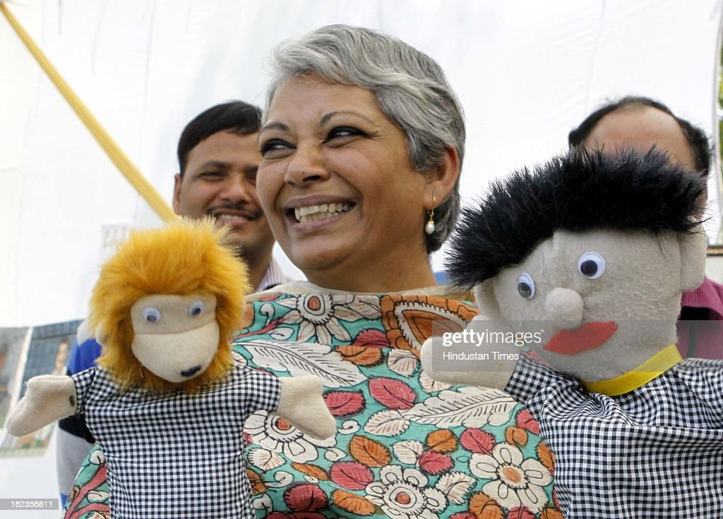 Vimla Mehra DG Tihar along with the soft toys made by inmates as part of job oriented soft skills program at Tihar Jail, during the Annual Press Conference at Tihar Jail on February 22, 2013 in New Delhi, India.