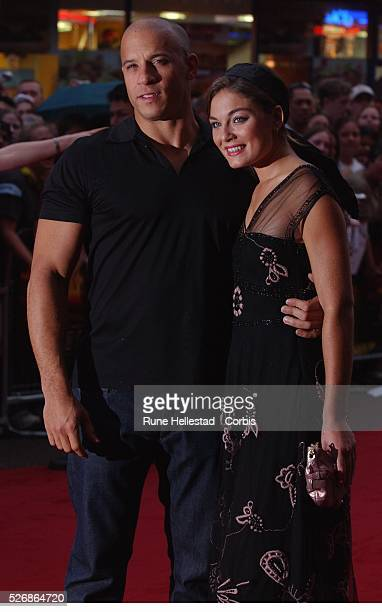 Vin Diesel and Alexa Davalos attend the premiere of 'The Chronicles of Riddick' at Vue Cinema Leicester Square