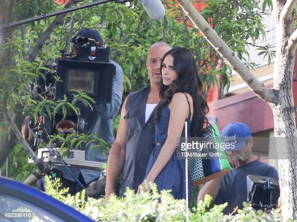 Vin Diesel and Jordana Brewster are seen filming 'Fast Furious 7' on June 02 2014 in Los Angeles California