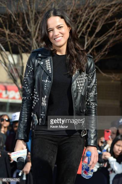 Vin Diesel and Michelle Rodriguez visit Washington Heights on behalf of 'The Fate Of The Furious' on April 11 2017 in New York City
