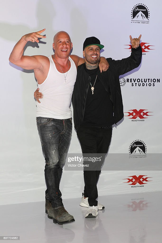 Vin Diesel and Nicky Jam attend a photocall to promote the Paramount Pictures film 'xXx: Return of Xander Cage' at St. Regis Hotel on January 5, 2017 in Mexico City, Mexico.