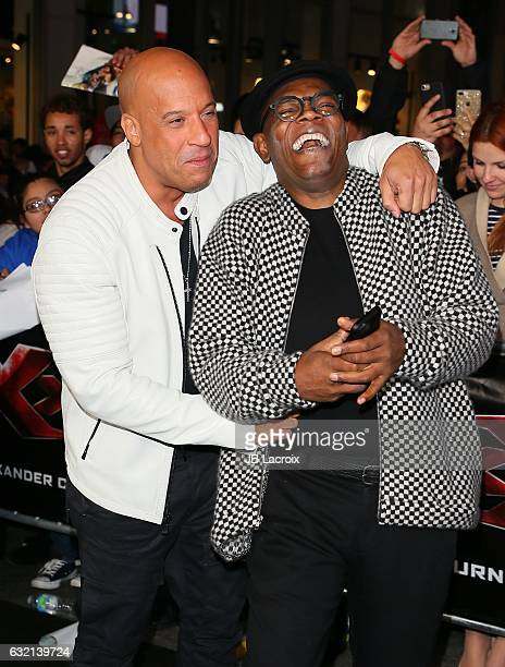 Vin Diesel and Samuel L Jackson attend the premiere of Paramount Pictures' 'xXx Return Of Xander Cage' on January 19 2017 in Los Angeles California