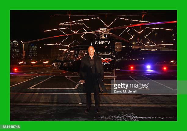 Vin Diesel arrives by helicopter to the European Premiere of 'xXx' Return of Xander Cage' at The Cineworld O2 Arena on January 10 2017 in London...