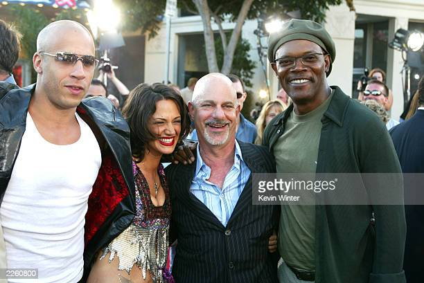 Vin Diesel Asia Argento director Rob Cohen and Samuel L Jackson at the premiere of 'XXX' at the Village Theater in Westwood Ca Monday August 5 2002...