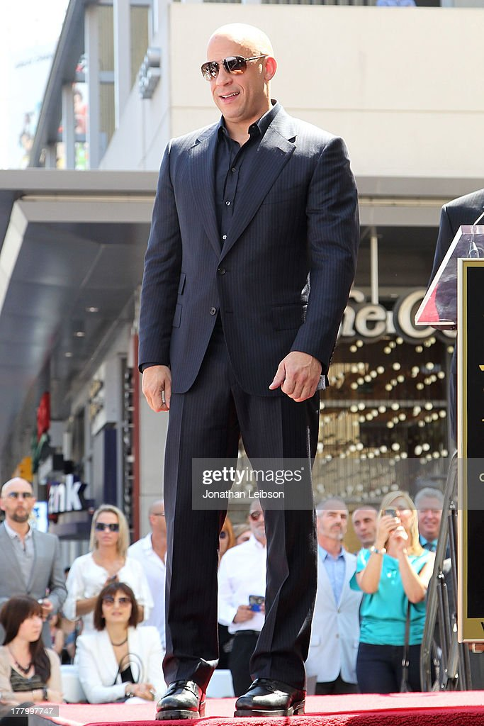 Vin Diesel attends the ceremony honoring him with a star on The Hollywood Walk of Fame held on August 26, 2013 in Hollywood, California.