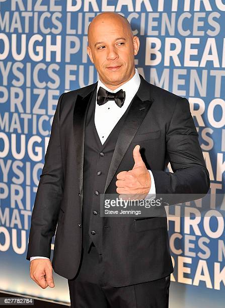 Vin Diesel attends the Red Carpet at the 5th Annual Breakthrough Prize Ceremony at NASA Ames Research Center on December 4 2016 in Mountain View...