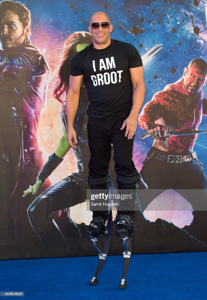 <a gi-track='captionPersonalityLinkClicked' href=/galleries/search?phrase=Vin+Diesel&family=editorial&specificpeople=171983 ng-click='$event.stopPropagation()'>Vin Diesel</a> attends the UK Premiere of 'Guardians of the Galaxy' at Empire Leicester Square on July 24, 2014 in London, England.