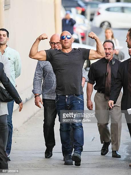 Vin Diesel is seen arriving at 'Jimmy Kimmel Live' on January 17 2017 in Los Angeles California