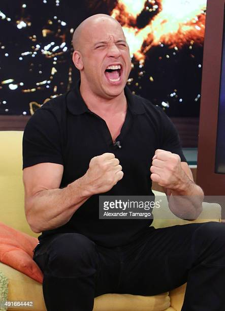 Vin Diesel is seen on the set of 'Despierta America' to promote his film 'The Last Witch Hunter' at Univision Studios on October 7 2015 in Miami...