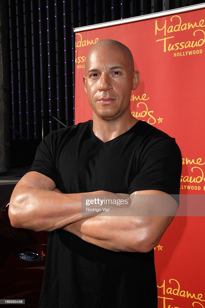 Vin Diesel wax figure at Universal CityWalk 20th Anniversary event featuring 8 original cars from 'Fast & The Furious' movie franchise at 5 Towers Outdoor Concert Arena on May 23, 2013 in Universal City, California.