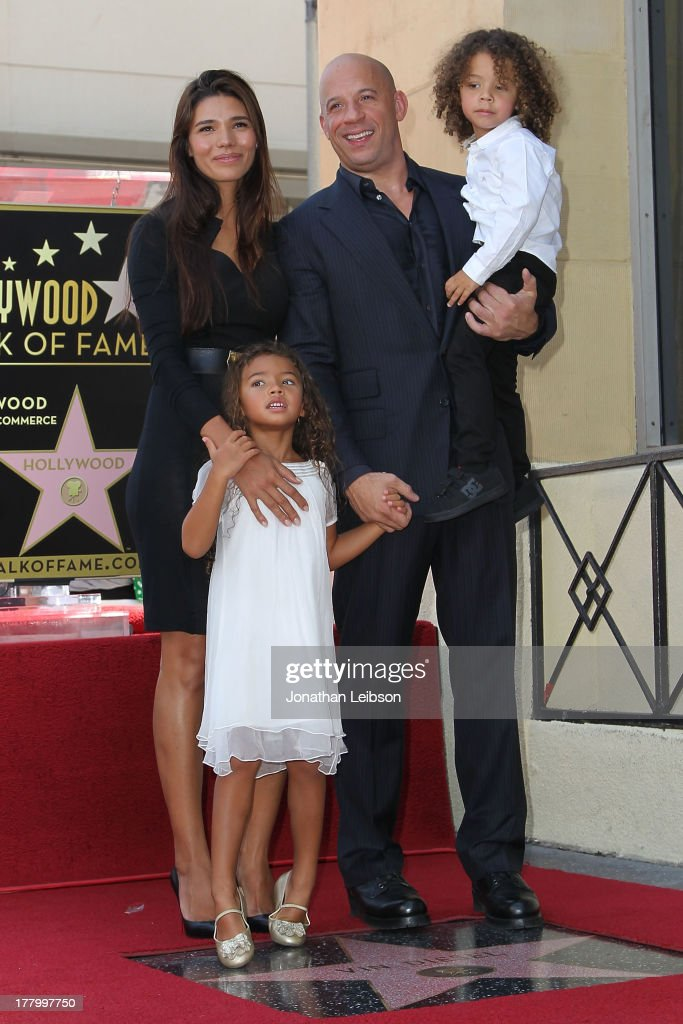Vin Diesel with his wife, Paloma Jimenez and children attend the ceremony honoring him with a star on The Hollywood Walk of Fame held on August 26, 2013 in Hollywood, California.