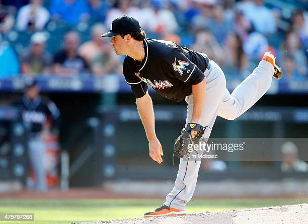 Vin Mazzaro of the Miami Marlins in action against the New York Mets at Citi Field on May 30 2015 in the Flushing neighborhood of the Queens borough...