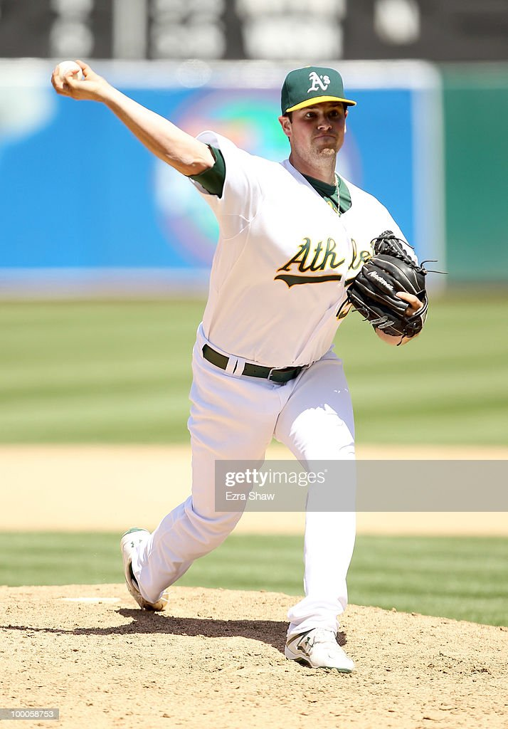 Vin Mazzaro #54 of the Oakland Athletics pitches against the Detroit Tigers at the Oakland-Alameda County Coliseum on May 20, 2010 in Oakland, California.