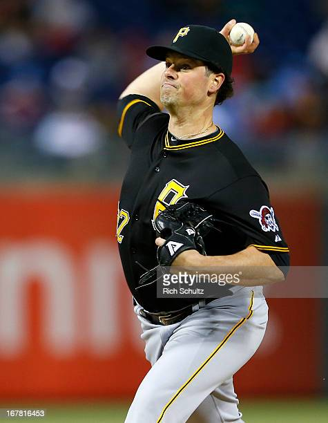 Vin Mazzaro of the Pittsburgh Pirates delivers a pitch against the Philadelphia Phillies in a MLB baseball game on April 22 2013 at Citizens Bank...
