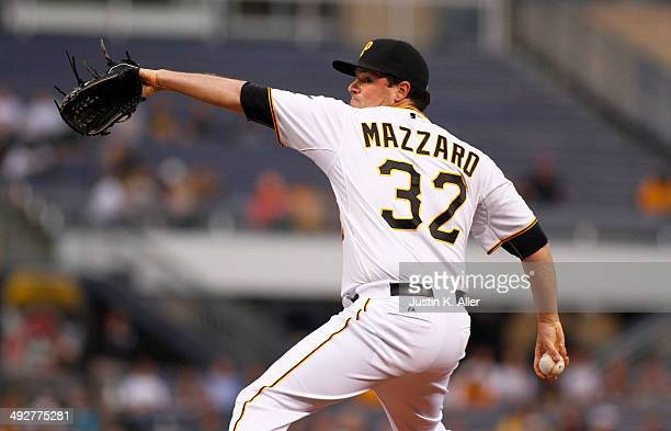 Vin Mazzaro of the Pittsburgh Pirates pitches in the second inning against the Baltimore Orioles during interleague play at PNC Park May 21 2014 in...