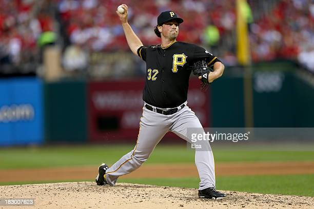 Vin Mazzaro of the Pittsburgh Pirates pitches in the seventh inning against the St Louis Cardinals during Game One of the National League Division...