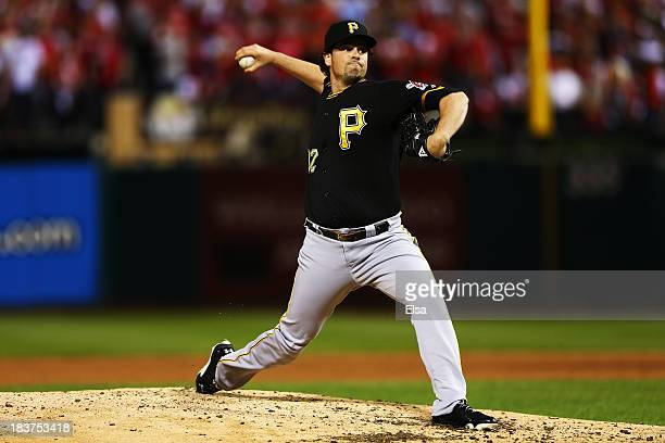 Vin Mazzaro of the Pittsburgh Pirates pitches in the sixth inning against the St Louis Cardinals during Game Five of the National League Division...