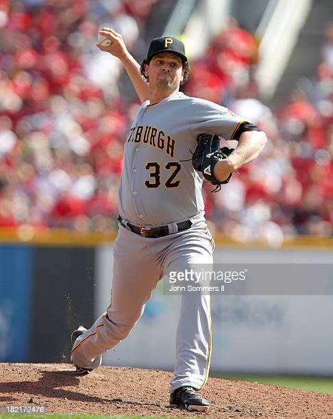 Vin Mazzaro of the Pittsburgh Pirates throws a pitch during the game against the Cincinnati Reds at Great American Ball Park on September 28 2013 in...