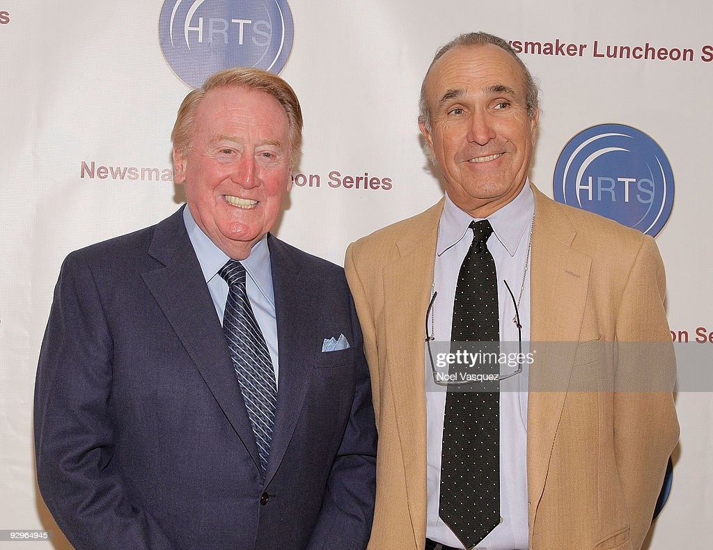 <a gi-track='captionPersonalityLinkClicked' href=/galleries/search?phrase=Vin+Scully&family=editorial&specificpeople=878517 ng-click='$event.stopPropagation()'>Vin Scully</a> (L) and Ron Shelton (R) attend the HRTS Newsmaker Luncheon honoring the broadcast legend at the Beverly Wilshire Hotel on November 10, 2009 in Beverly Hills, California.
