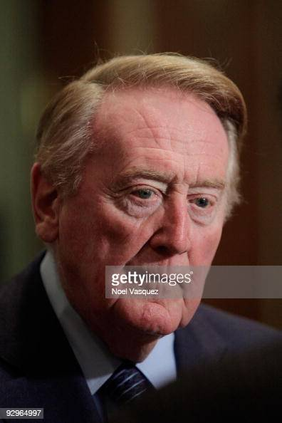 Vin Scully attends the HRTS Newsmaker Luncheon honoring the broadcast legend at the Beverly Wilshire Hotel on November 10 2009 in Beverly Hills...