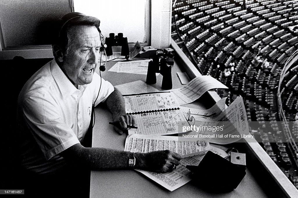 Vin Scully does the playbyplay for the Los Angeles Dodgers in 1989 in unspecified location