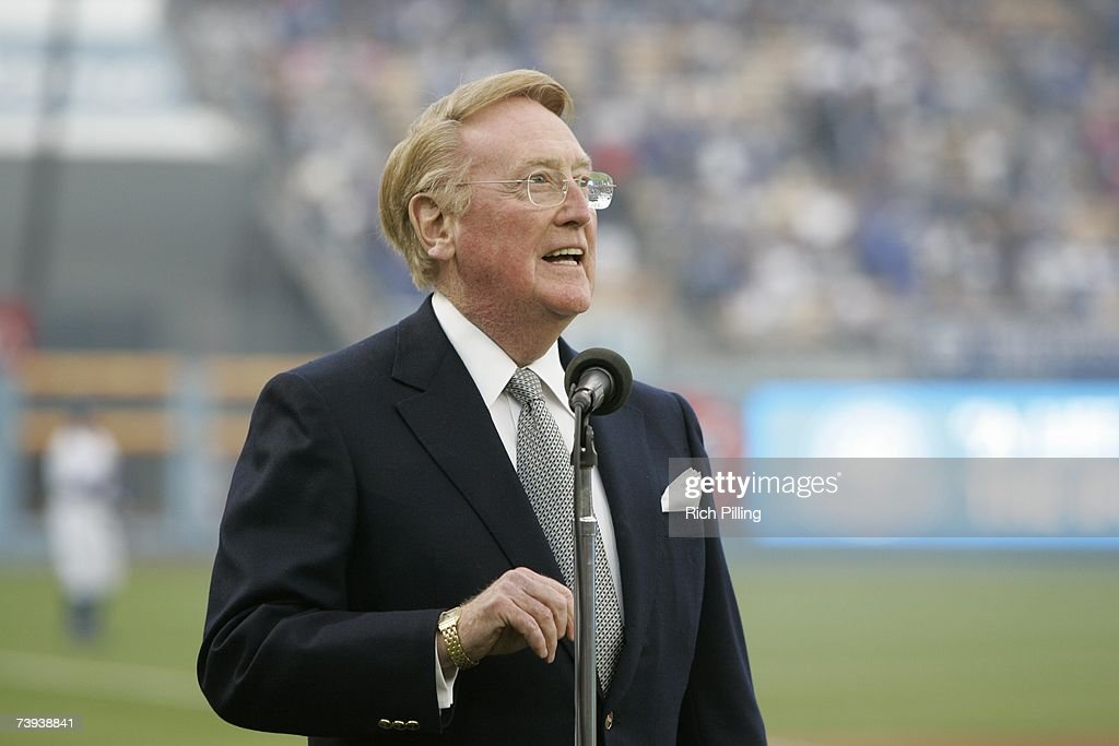 Vin Scully during the on field ceremonies for the game to celebrate Jackie Robinson Day between the Los Angeles Dodgers and the San Diego Padres at...