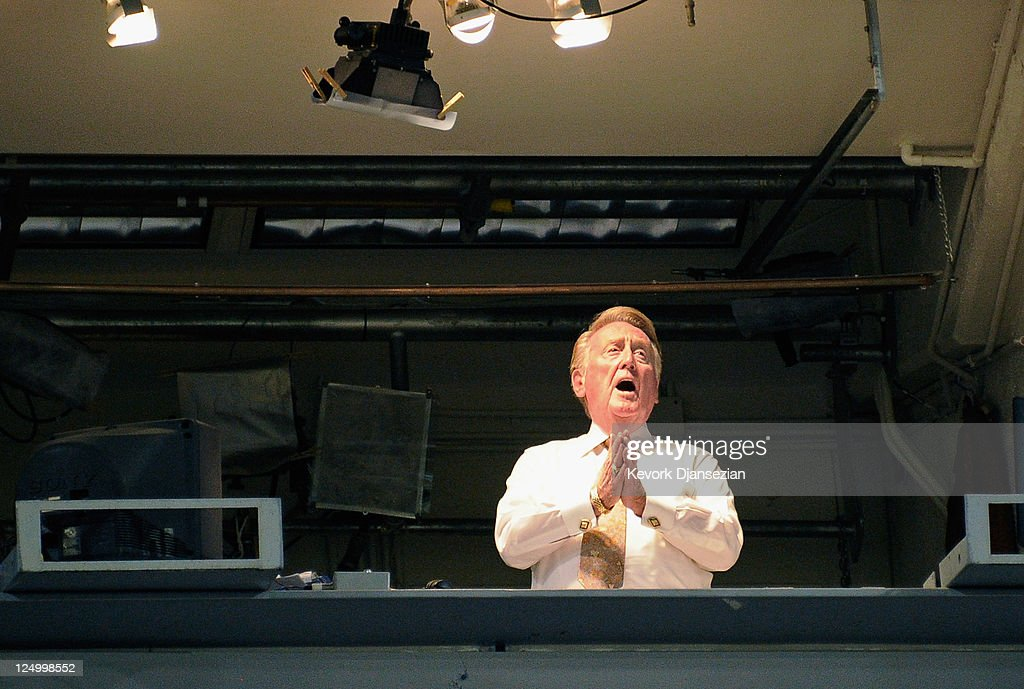 Vin Scully the playbyplay voice of the Los Angeles Dodgers sings 'Take Me Out to the Ball Game' song which has become the unofficial anthem of...