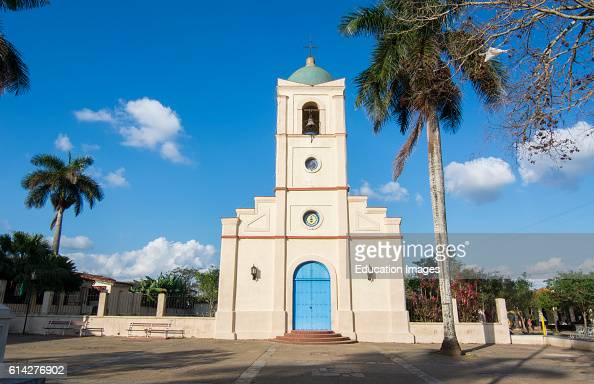Vinales Cuba with Main Square church with beautiful architecture and blue door in small town