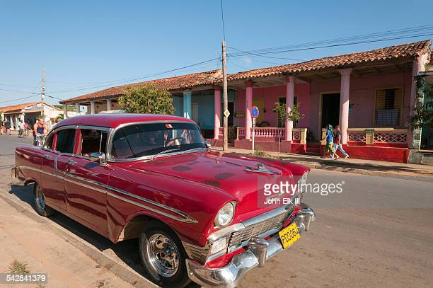 Vinales town, Street scene with vintage car