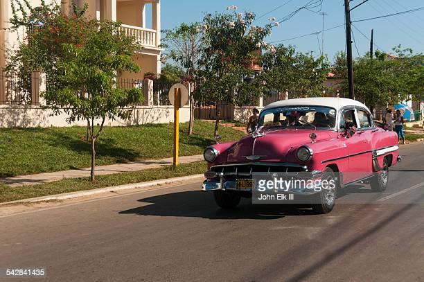 Vinales town, Street scene with vintage car