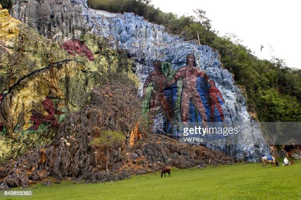 Vinales Valley in Pinar del Rio Cuba is a Unesco World Heritage site since 1999 The Prehistory mural painted in the wall of a cliff is one of the...