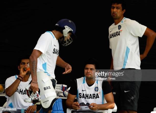Vinay Kumar Ravindra Jadeja Suresh Raina and Rahul Sharma of India practices at 3rd One day match of Airtel ODI series held at Sardar Patel Gujarat...