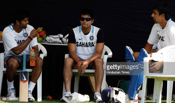 Vinay Kumar Sureh Raina and Rahul Sharma of India practices at 3rd One day match of Airtel ODI series held at Sardar Patel Gujarat Stadium on Sunday...