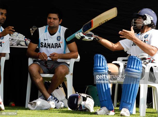 Vinay Kumar Suresh Raina and Ravindra Jadeja of India practices at 3rd One day match of Airtel ODI series held at Sardar Patel Gujarat Stadium on...