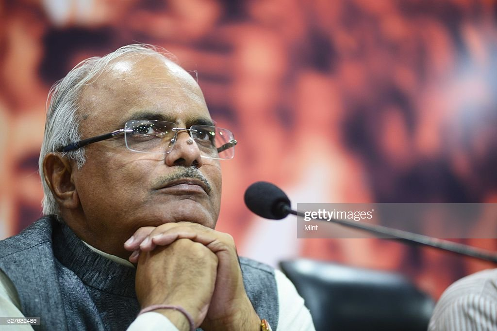 Vinay Sahasrabuddhe Vice President of BJP addressing a press conference on recent victory of BJP in Municipal Elections in Madhya Pradesh on August 17, 2015 in New Delhi, India.