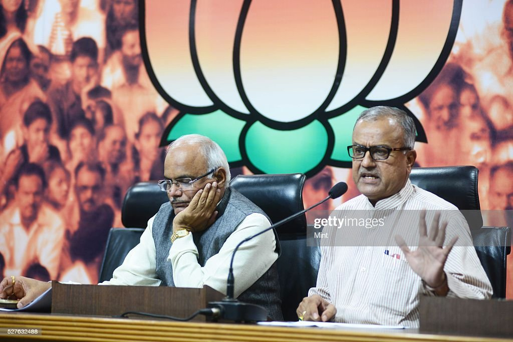 Vinay Sahasrabuddhe Vice President of BJP and Nand Kumar Chouhan BJP State President MP addressing a press conference on recent victory of BJP in Municipal Elections in Madhya Pradesh on August 17, 2015 in New Delhi, India.