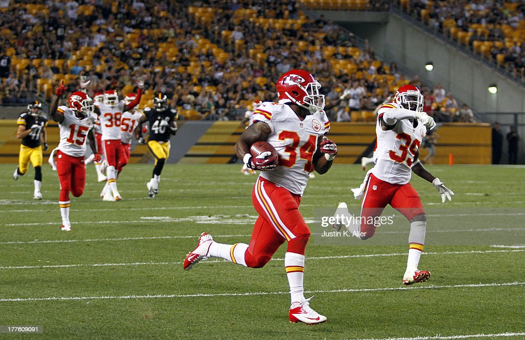 Vince Agnew #34 of the Kansas City Chiefs runs back a kickoff for a touchdown one hundred nine yards against the Pittsburgh Steelers in the second half during the game on August 24, 2013 at Heinz Field in Pittsburgh, Pennsylvania.