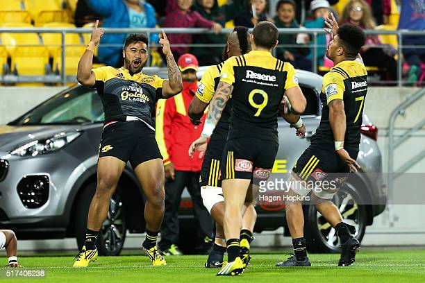 Vince Aso of the Hurricanes celebrates after scoring a try during the round five Super Rugby match between the Hurricanes and the Kings at Westpac...