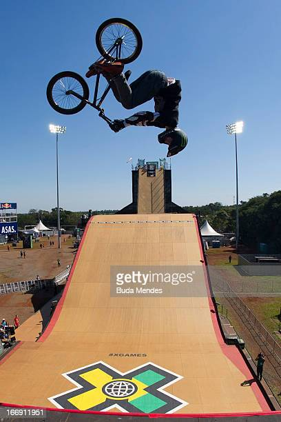 Vince Biron in action during the BMX Freestyle Pratice at the XGames on April 18 2013 in Foz do Iguacu Brazil