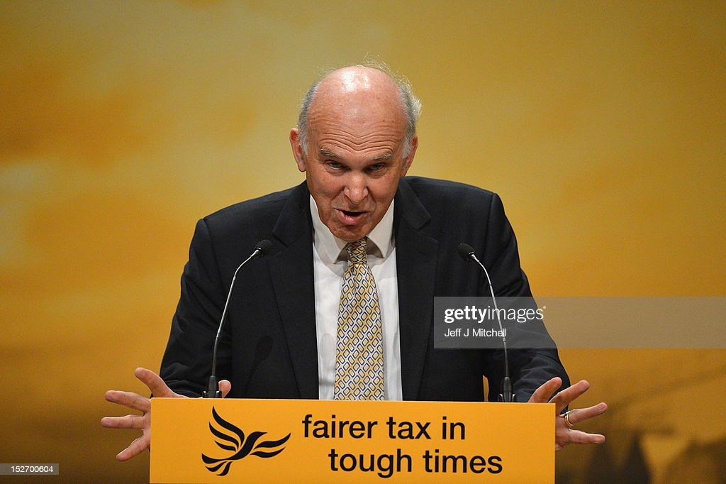 <a gi-track='captionPersonalityLinkClicked' href=/galleries/search?phrase=Vince+Cable&family=editorial&specificpeople=4872939 ng-click='$event.stopPropagation()'>Vince Cable</a>, Business Secretary, gives his speech to the Liberal Democrat Party conference on September 24,2012 in Brighton, England. In his speech to conference Business Secretary <a gi-track='captionPersonalityLinkClicked' href=/galleries/search?phrase=Vince+Cable&family=editorial&specificpeople=4872939 ng-click='$event.stopPropagation()'>Vince Cable</a> announced the government's plan to invest one billion GBP into setting up a bank to increase lending to businesses, who have struggled to obtain credit since the financial crisis