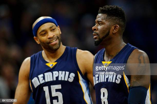 Vince Carter and James Ennis of the Memphis Grizzlies look on during the game against the Minnesota Timberwolves on February 4 2017 at the Target...