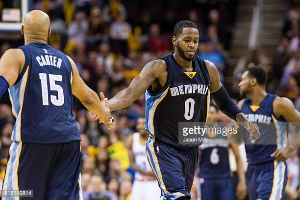 Vince Carter celebrates with JaMychal Green of the Memphis Grizzlies after a play during the second half against the Cleveland Cavaliers at Quicken...