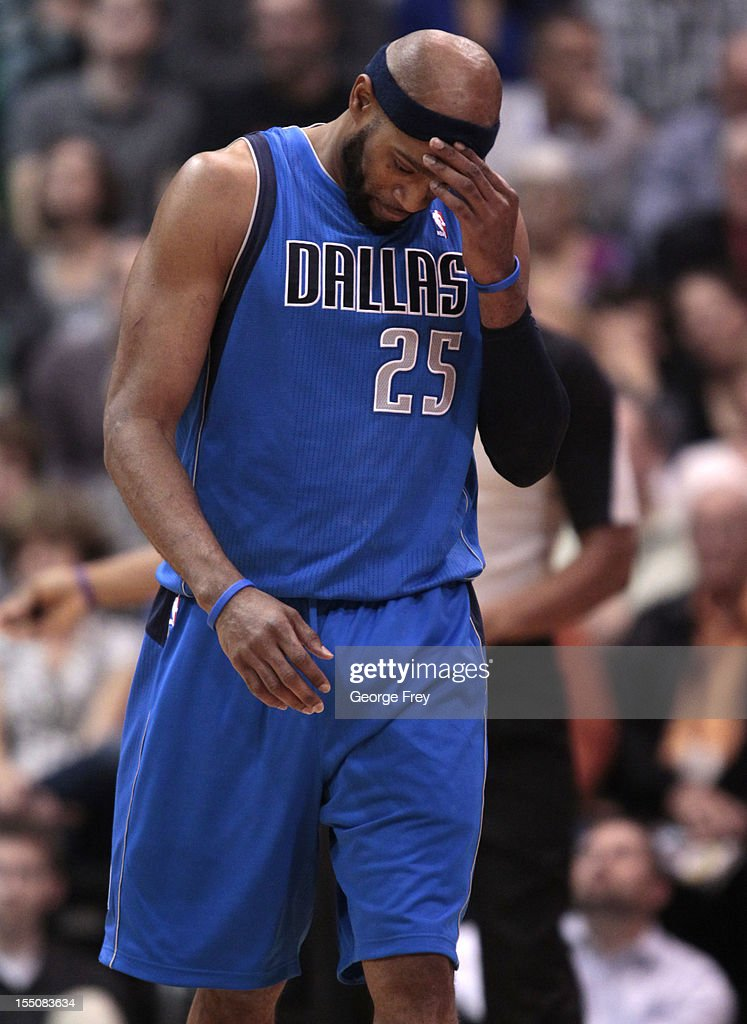 Vince Carter #30 of Dallas Mavericks reacts as he leaves the court during a game against the Utah Jazz during the second half of an NBA game October 31, 2012 at EnergySolution Arena in Salt Lake City, Utah.