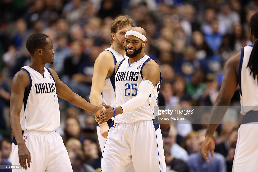 Vince Carter #25 of the Dallas Mavericks at American Airlines Center on February 11, 2013 in Dallas, Texas.